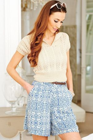 Short retro lace knitted top for women with short sleeves and roll collar
