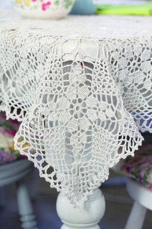 Vintage tablecloth with floral design