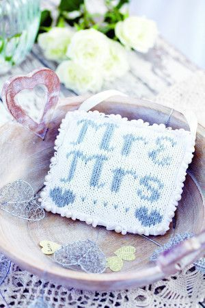 Knitted wedding cushion with Mr and Mrs motif