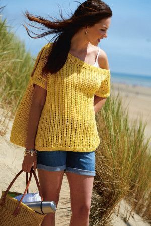 Women's yellow knitted cold shoulder top