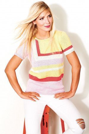 Ladies' geometric colour block knitted top