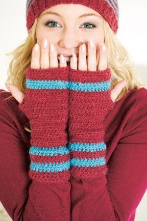 Ladies' crocheted arm warmers with stripes