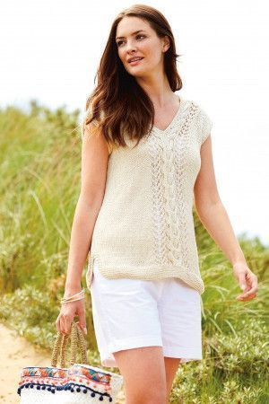 Knitted V-neck top for women with cable detail