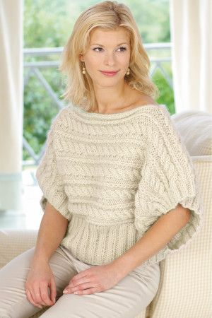 Slash neck sideways knitted thick cable ladies' top with short batwing sleeves