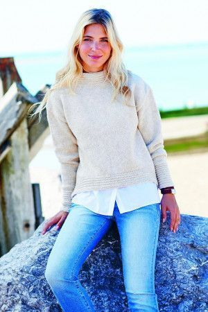 Ladies knitted cream sweatshirt with boat neck