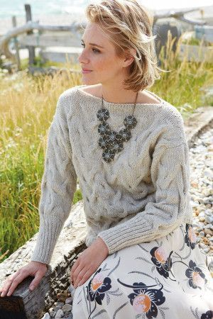 Slash neck chunky cable knitted ladies' jumper with long sleeves
