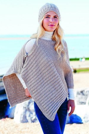 Women's knitted cape and matching hat