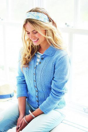 Knitted ladies' cardigan with cables
