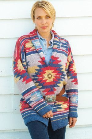 Knitted cardigan jacket for a women with collar and bright Navajo design
