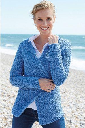 Long-sleeved ladies knitted wrapover cardigan in denim blue yarn