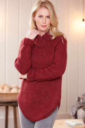 Knitted raglan ladies' long-sleeved sweater with scooped bottom and cross-over V-neck