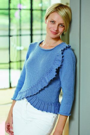 Blue knitted jumper for women with a ruffle down the front