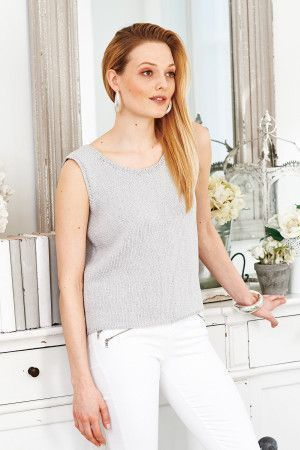Knitted ladies' top with scooped neck
