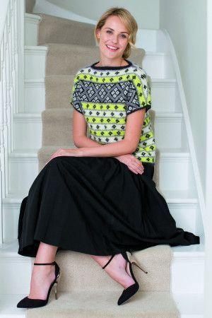 Ladies' short-sleeve Fair Isle top with slash neck