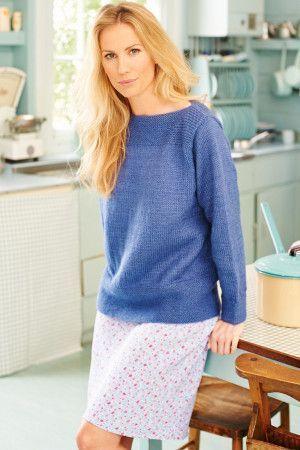 Ladies'knitted jumper with garter stitch welt along slash neck
