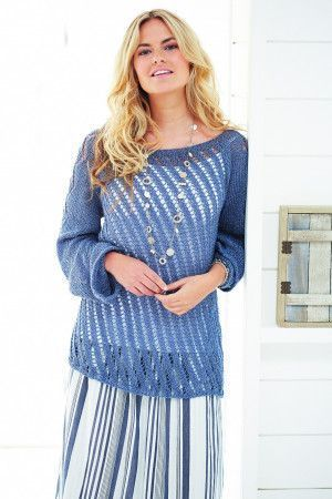 Ladies' long-sleeved knitted tunic-style jumper