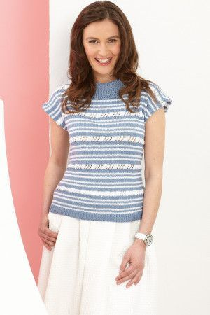 Stripy knitted cap-sleeved ladies' top with rollover collar