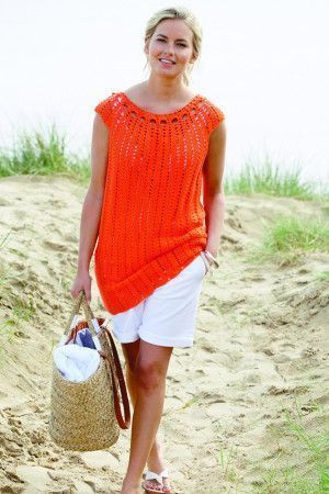 Ladies' short-sleeved crochet top with scoop neck