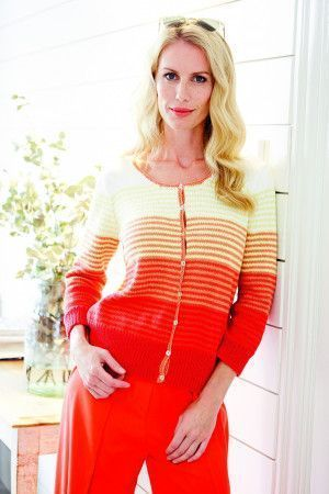Striped women's vintage knitted cardigan
