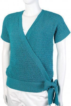 Short knitted wrapover top with crossover front and side tie