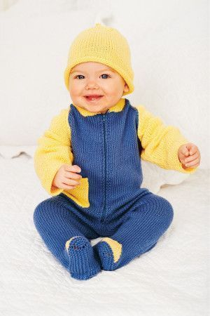 Knitted hat and zipped all-in-one for babies in blue and yellow