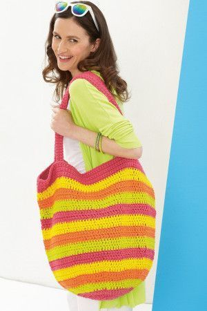 Crocheted bold striped beach bag with shoulder straps