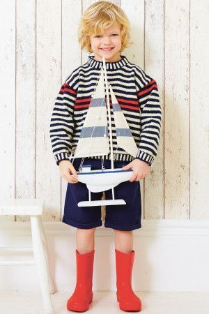 Boys Jumper Striped Knitting Pattern - The Knitting Network