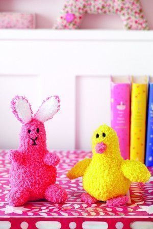 Knitted bunny and duck toy