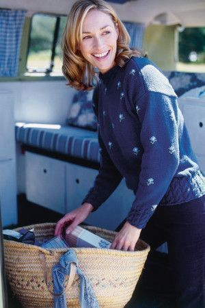 Cable And Flower Pattern Womens Jumper Knitting Pattern - The Knitting Network