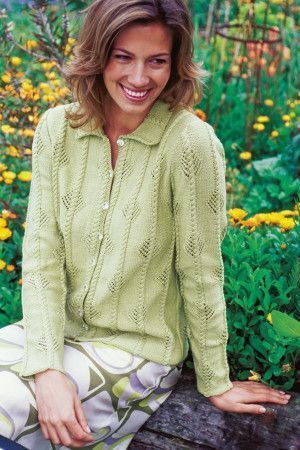Cable Knit And Lace Ladies Cardigan Knitting Pattern - The Knitting Network