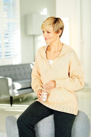 Ladies' slouchy knitted tunic top