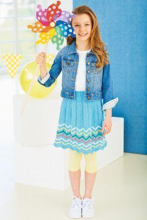 Knitted chevron girl's skirt