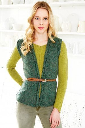 Green knitted ladies' chevron gilet