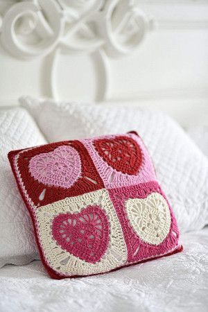 Heart Motif Cushion Crochet Pattern