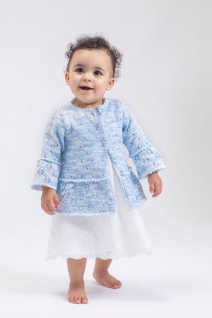 knitted baby peplum jacket with eyelet design in blue