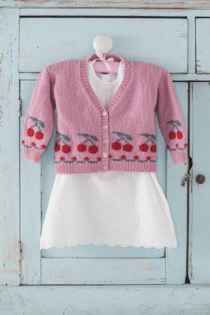 Girls cherry motif cardigan knitting pattern to fit age 2-6 years
