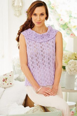 Ladies Sleeveless Lace Top Knitting Pattern