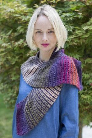 Ladies Striped Ombre Scarf Knitting Pattern