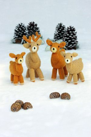 Knitted Deer Family