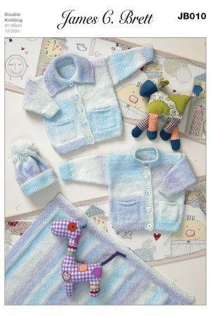 Cardigans, Hat and Blanket in James C. Brett Baby Marble DK (JB010)