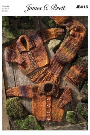 Cardigans, Hat and Scarf in James C. Brett Marble Chunky (JB015)