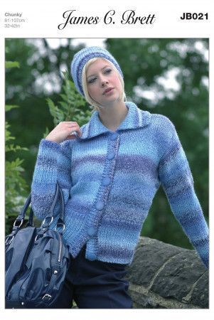 Cardigan and Hat in James C. Brett Marble Chunky (JB021)
