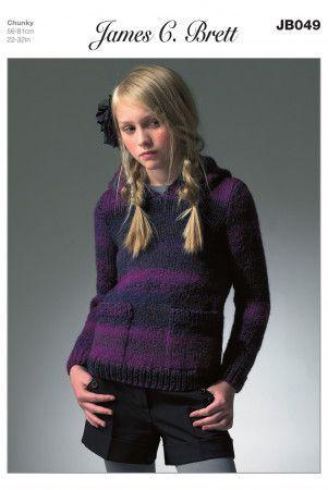 Hooded Sweater in James C. Brett Marble Chunky (JB049)