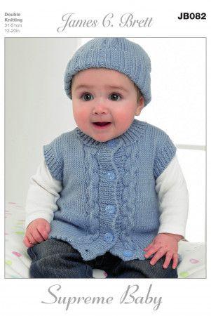 Cardigan, Waistcoat, Hat and Mittens in James C. Brett Supreme Baby DK (JB082)