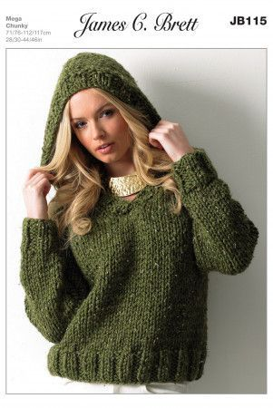 Sweater In James C. Brett Rustic Mega Chunky (JB115)