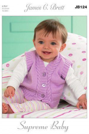 Slipovers and Waistcoats in James C. Brett Supreme Baby 4 Ply (JB124)