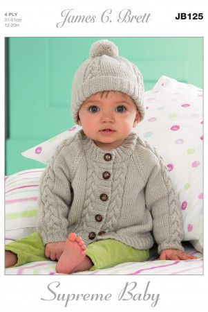 Cardigans and Hat in James C. Brett Supreme Baby 4 Ply (JB125)