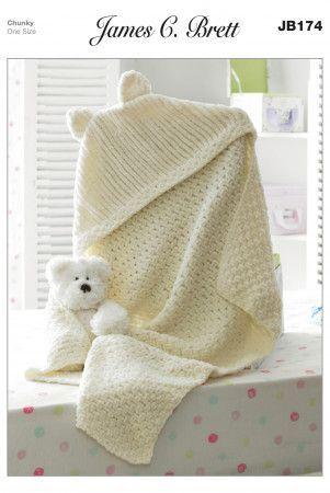 Hooded Blanket in James C. Brett Flutterby Chunky (JB174)