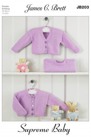 Cardigans and Sweater in James C. Brett Supreme Baby DK (JB203)
