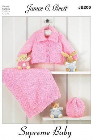 Jacket, Hat and Blanket in James C. Brett Supreme Baby DK (JB206)